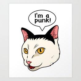 Punk Cat Music Lover Concert Rock Music Art Print
