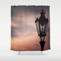 lantern Shower Curtains featuring Victorian Lantern by Maria Heyens