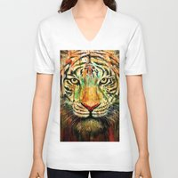 tiger V-neck T-shirts featuring Tiger by nicebleed