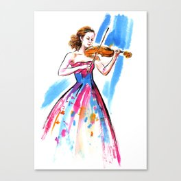 Girl playing the violin Canvas Print