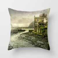cassia beck Throw Pillows featuring The Beck at Staithes by tarrby/Brian Tarr