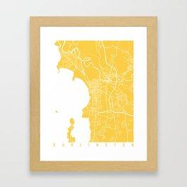 Burlington map yellow Framed Art Print