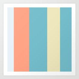 An unthinkable combination of Ice Blue, Seafoam Blue, Vivid Tangerine and Light Tan vertical stripes. Art Print