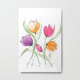 Colorful Dancing Tulips Metal Print
