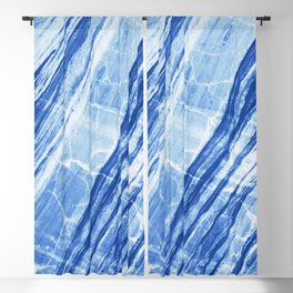 Abstract Marble - Denim Blue Blackout Curtain