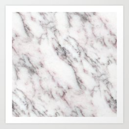 Soft Pink and Charcoal Veins on Whipped Cream Marble Art Print