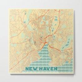 New Haven Map Retro Metal Print