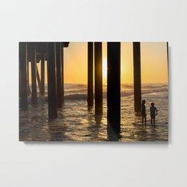 California Under Pier Sunset Kids Edition Metal Print
