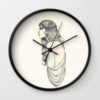 luna Wall Clocks featuring Luna by Caitlin McCarthy