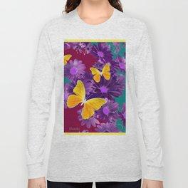 PURPLE FLOWERS YELLOW BUTTERFLIES TEAL GARDEN Long Sleeve T-shirt
