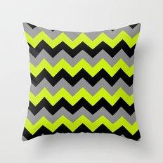 Chevron Silver Lime Throw Pillow