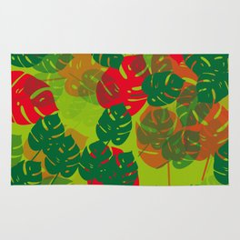 monstera green red Rug