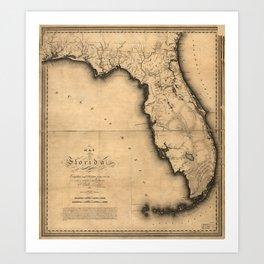 Map of Florida (1823) Art Print
