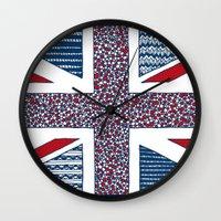 uk Wall Clocks featuring Lovely UK by Anita Ivancenko