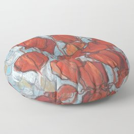 Chinese Lanterns, Pastel Painting, Autumn Floral Floor Pillow