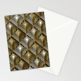 Art deco golden peacock feathers Stationery Cards