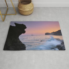 Big Wave. La Joya Beach At Sunset. Spain Rug