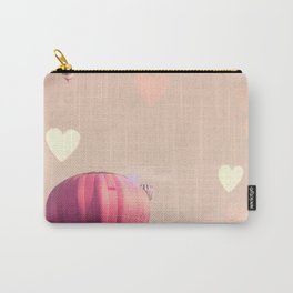 Hot air balloons nursery and heart bokeh on pale pink Carry-All Pouch