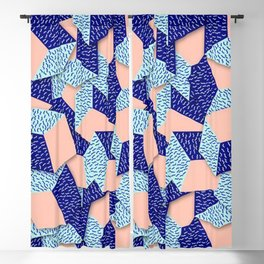 Colorful Aqua Geometric Pattern Blackout Curtain