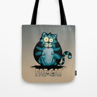 my mad fat diary Tote Bags featuring Fat Cat by mangulica illustrations