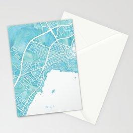 Aquamarine watercolor map of Ibiza, Spain Stationery Cards