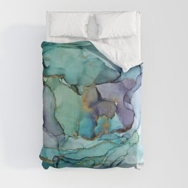 Aquamarine Teal Waves - Abstract Ink Comforters