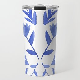 Blue and white flowers, blue flowers, floral design, watercolor art Travel Mug