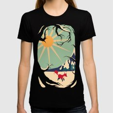 Fox roaming around II MEDIUM Womens Fitted Tee Black