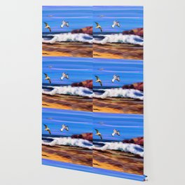 Seagulls at the Shore Watercolor (Color) Wallpaper