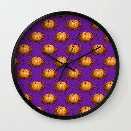 Pumpkin with Black Heart Leaves Halloween Fall Pattern on Purple Background Wall Clock