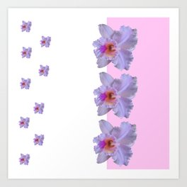TROPICAL PURPLE CATTLEYA ORCHIDS WHITE-PINK ART Art Print