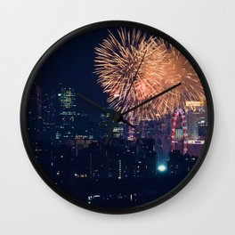 Fireworks in the City (Color) Wall Clock