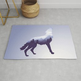 Wolf Double Exposure Surreal Wildlife Animal Wolves Gifts Rug
