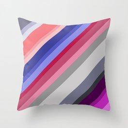 grey blue pink purple stripes Throw Pillow