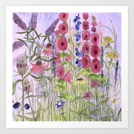 Watercolor Wildflower Garden Flowers Hollyhock Teasel Butterfly Bush Blue Sky Art Print