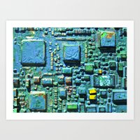 technology Art Prints featuring Crowded Technology  by mark jones