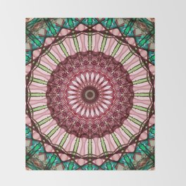Mandala in red, light and dark green Throw Blanket