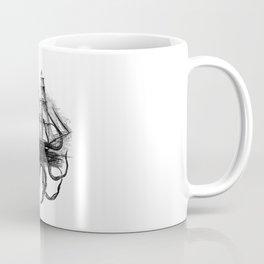 Kraken Attacking ship on Colorful Stripes Coffee Mug