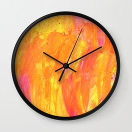 Sunny Yellow Vibes Abstract Version 2 Wall Clock