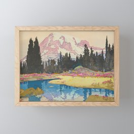 Mount Rainier Vintage Beautiful Japanese Woodblock Print Hiroshi Yoshida Framed Mini Art Print