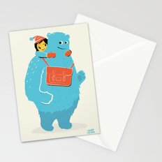 Blue-Monster Piggy-Ride Stationery Cards