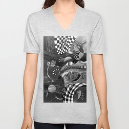 Black and white abstraction explosion of chess Unisex V-Neck