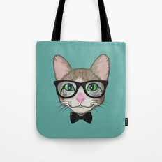 Colorful Cat Hipster with Bow Tie Tote Bag