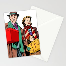Shopping happy family dad mom girl Stationery Cards