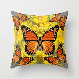 MONARCH BUTTERFLIES & GOLDEN YELLOW  FLOWERS Throw Pillow