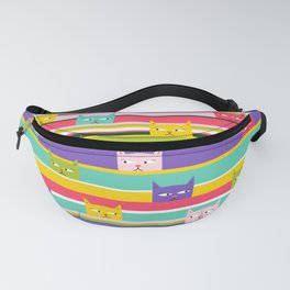 Colorful Peeking Cats on stripes Fanny Pack