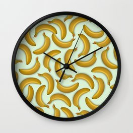 Fruit pattern. Background from bananas with realistic shadows Wall Clock