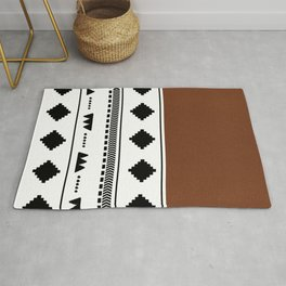 Southwestern white with faux leather texture Rug
