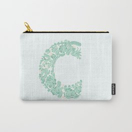 Floral Type - Letter C - Seafoam Carry-All Pouch