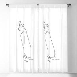 Figure line drawing illustration - Rae Blackout Curtain